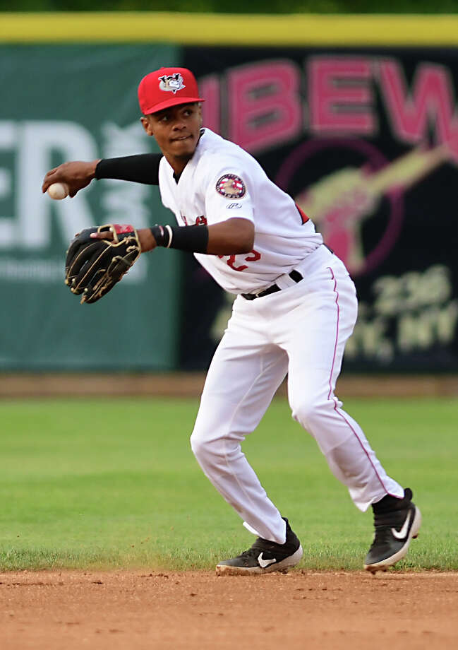 Tri-City ValleyCats shortstop AJ Lee throws the ball to first for the out during a baseball game against the Lowell Spinners at Joe Bruno Stadium on Wednesday, Aug. 7, 2019 in Troy, N.Y. (Lori Van Buren/Times Union) Photo: Lori Van Buren, Albany Times Union / 40047202A