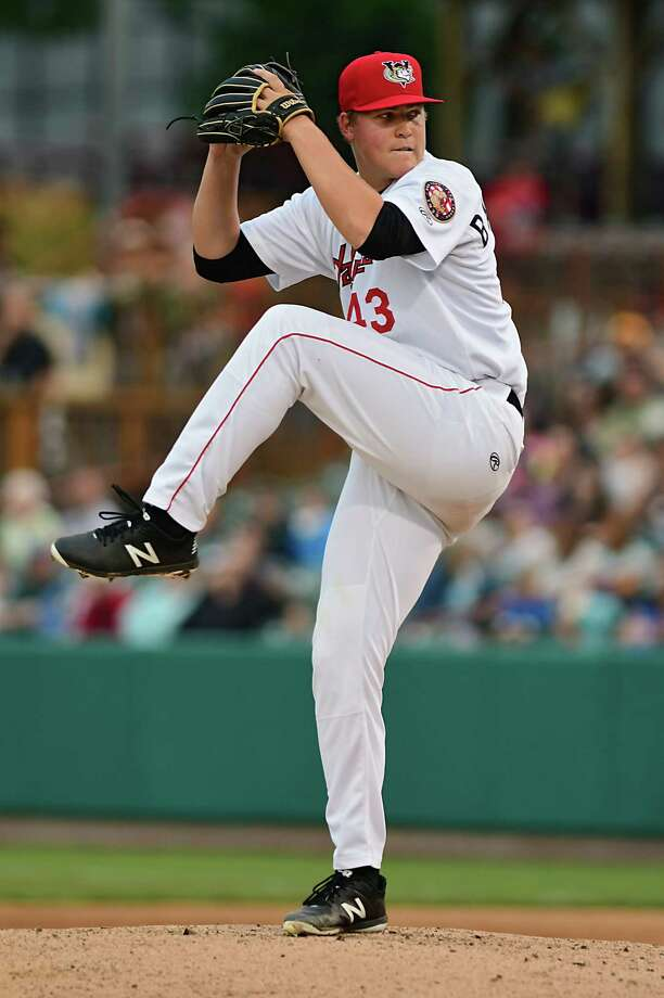 Tri-City ValleyCats pitcher Peyton Battenfield throws the ball during a baseball game against the Lowell Spinners at Joe Bruno Stadium on Wednesday, Aug. 7, 2019 in Troy, N.Y. (Lori Van Buren/Times Union) Photo: Lori Van Buren, Albany Times Union / 40047202A