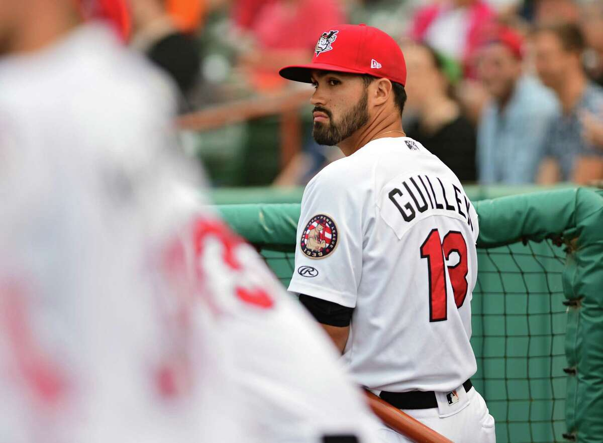 Tri-City ValleyCats manager Ozney Guillen is seen in the dugout during a baseball game against the Lowell Spinners at Joe Bruno Stadium on Wednesday, Aug. 7, 2019 in Troy, N.Y. (Lori Van Buren/Times Union)