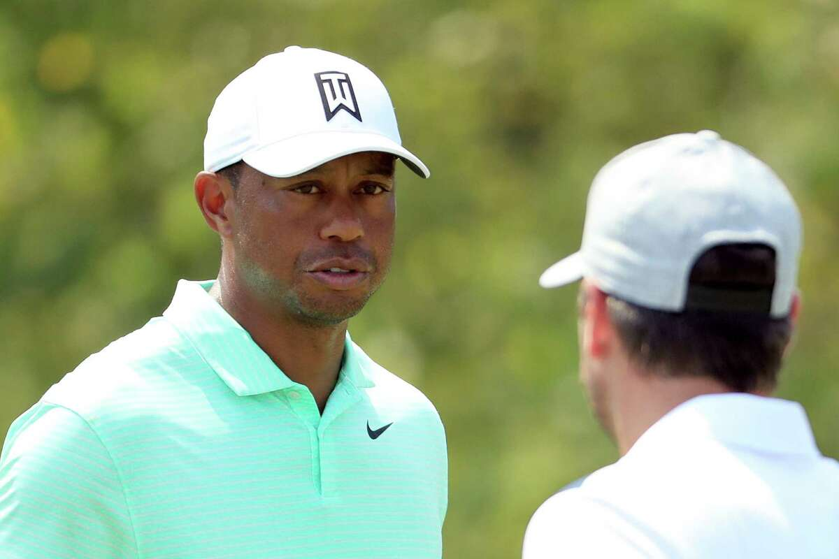 JERSEY CITY, NEW JERSEY - AUGUST 07: Tiger Woods of the United States looks on during a practice round of the Northern Trust at Liberty National Golf Club on August 7, 2019 in Jersey City, New Jersey. (Photo by Mike Lawrie/Getty Images)