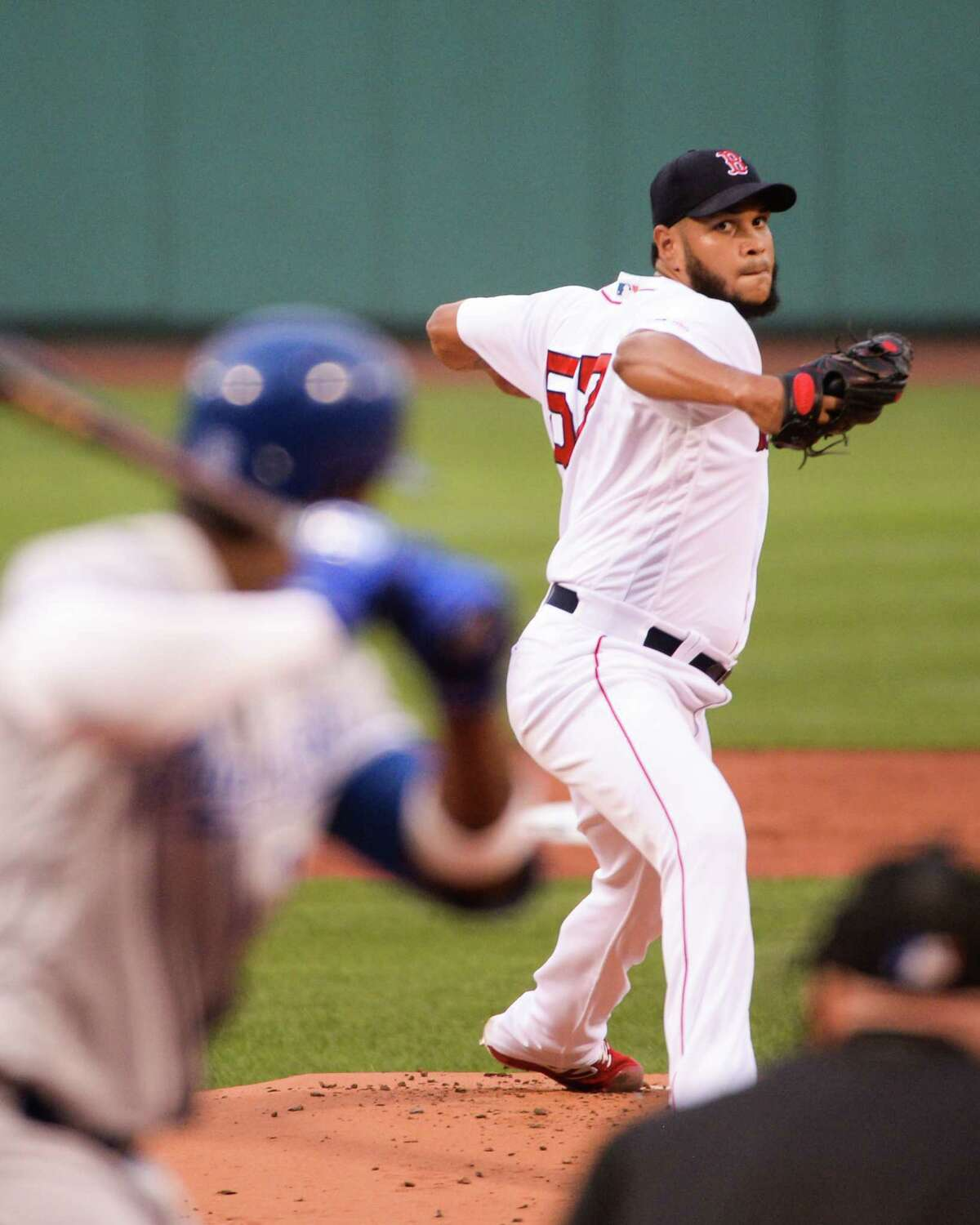 BOSTON, MA - AUGUST 7: Eduardo Rodriguez #57 of the Boston Red Sox pitches in the first inning against the Kansas City Royals at Fenway Park on August 7, 2019 in Boston, Massachusetts. (Photo by Kathryn Riley/Getty Images)