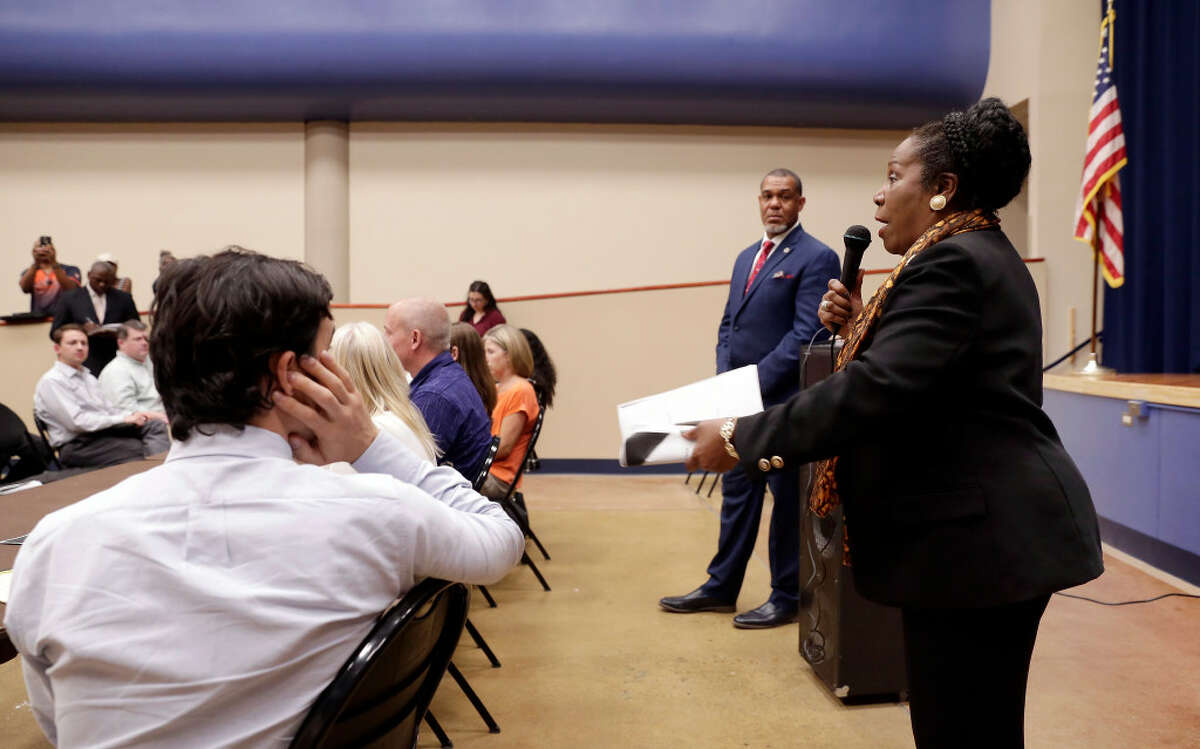 U.S. Rep. Sheila Jackson Lee, right, speaks during a public meeting about a proposed concrete batch plant in Acres Homes at the Acres Homes Multi Service Center on July 22, 2019 in Houston. The community contacted several of their legislators about their concerns about the batch plant.