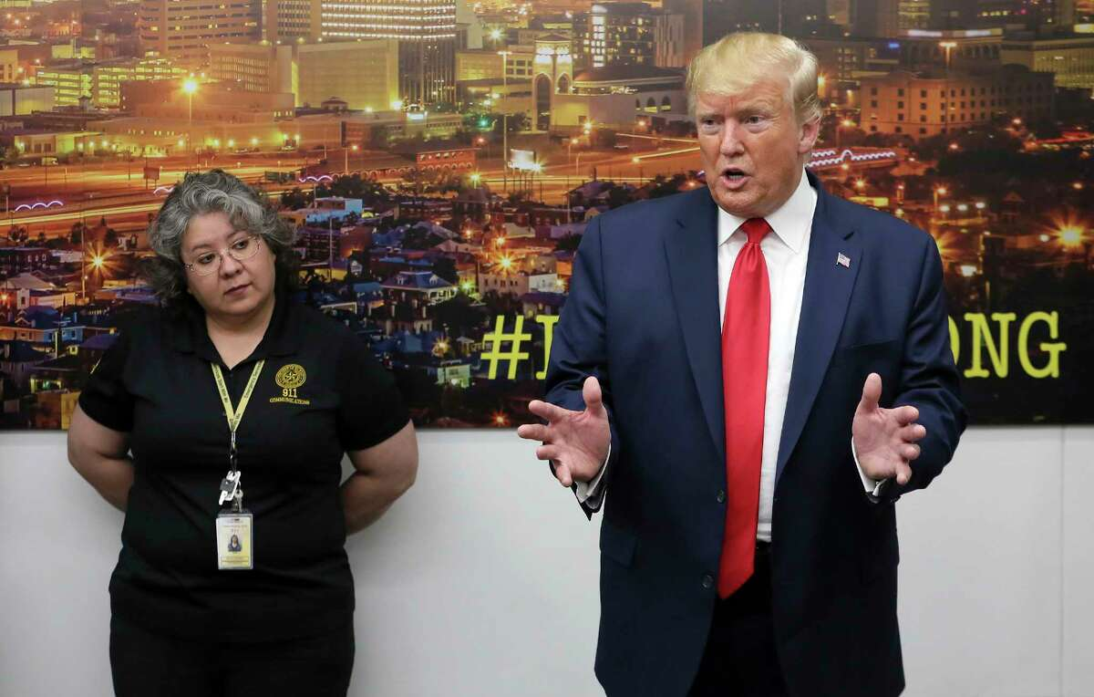 President Donald Trump speaks to the media as he visits the El Paso Regional Communications Center after meeting with people affected by the El Paso mass shooting, Wednesday, Aug. 7, 2019, in El Paso, Texas. (Mark Lambie/The El Paso Times via AP)