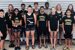 Trumbull Pisces competed in a pair of Long Course state championship swims. Leading the way (front row) were Chase Reynolds, Ashmeen Batra, Kristen Racicot, Sri Vangeepuram, Sarah Johnson and Soham Sarkur; (second row) coach Bill Strickland, Liz Stoelzel, Raj Padda, Liam Crecca, Rohit Gunda, Cameron Kosak, Norah Hampford and coach Colleen Carroll.
