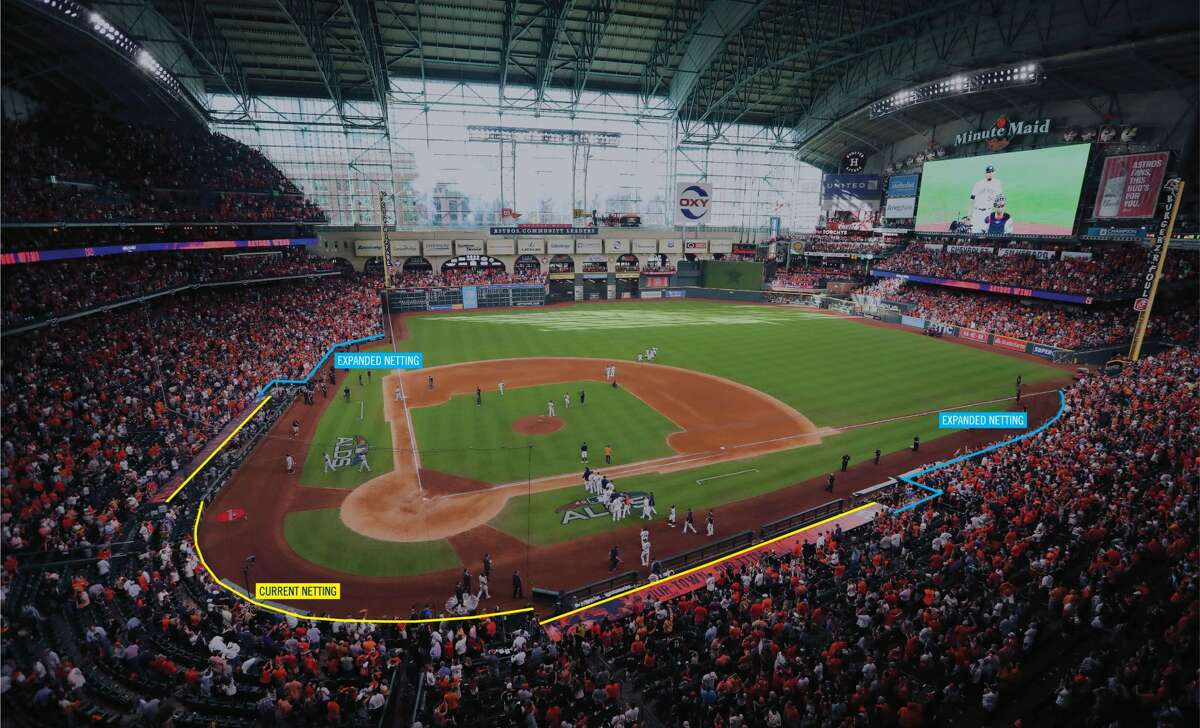 PHOTOS: A look at how far the new netting will extend and shots from the night a foul ball struck the 2-year-old in the head The Houston Astros announced today that the protective netting inside Minute Maid Park will be both upgraded and extended to cover more of the seating area.