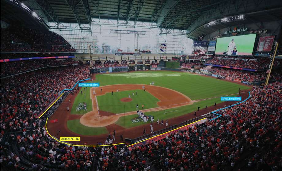 PHOTOS: A look at how far the new netting will extend and shots from the night a foul ball struck the 2-year-old in the head The Houston Astros announced today that the protective netting inside Minute Maid Park will be both upgraded and extended to cover more of the seating area. Photo: Houston Astros