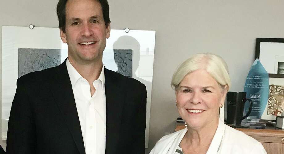 Connecticut Congressman Jim Himes met with Ridgefield resident Pat Giacone, an advocate for the Fragile X Syndrome Foundation, last week. Photo: Contributed Photo