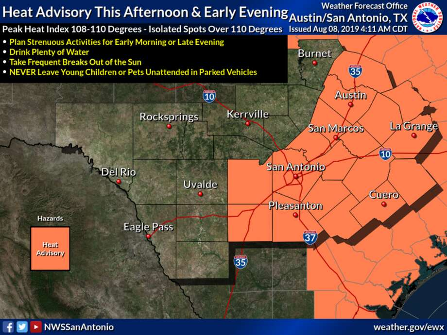 The San Antonio area is under another heat advisory from noon to 7 p.m. Thursday. Photo: The National Weather Service