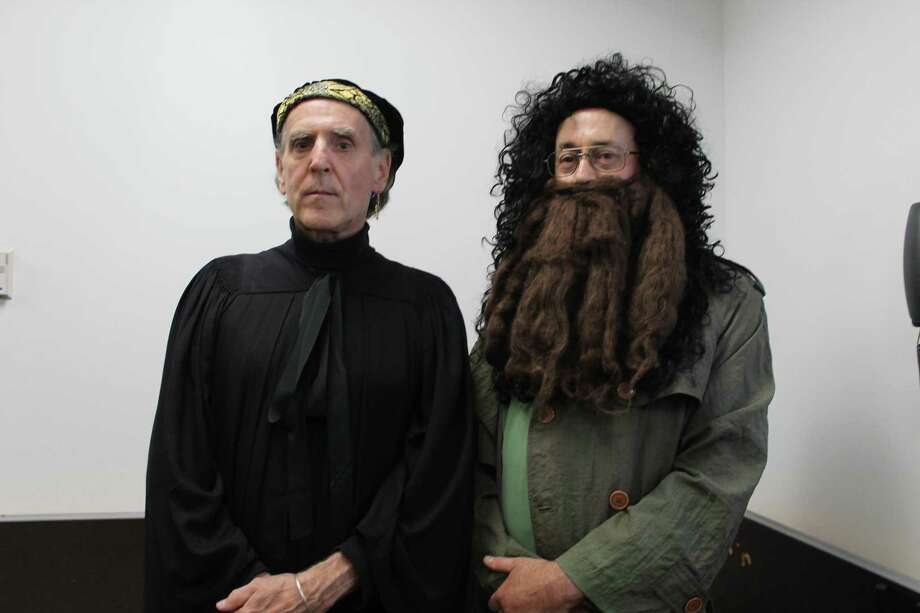 Tom Swick as Snape, Jon Keogh as Hagrid, and others will be part of Wilton Library's Wizard Camp fund-raiser on Tuesday, Aug. 20, from 9 a.m. to 3 p.m. Photo: Contributed Photo.