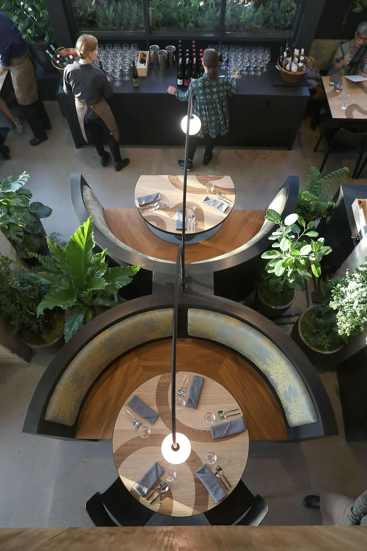 Overhead view of tables at the new San Francisco restaurant Nari seen at the Hotel Kabuki on Wednesday, Aug. 7, 2019 in San Francisco, Calif.