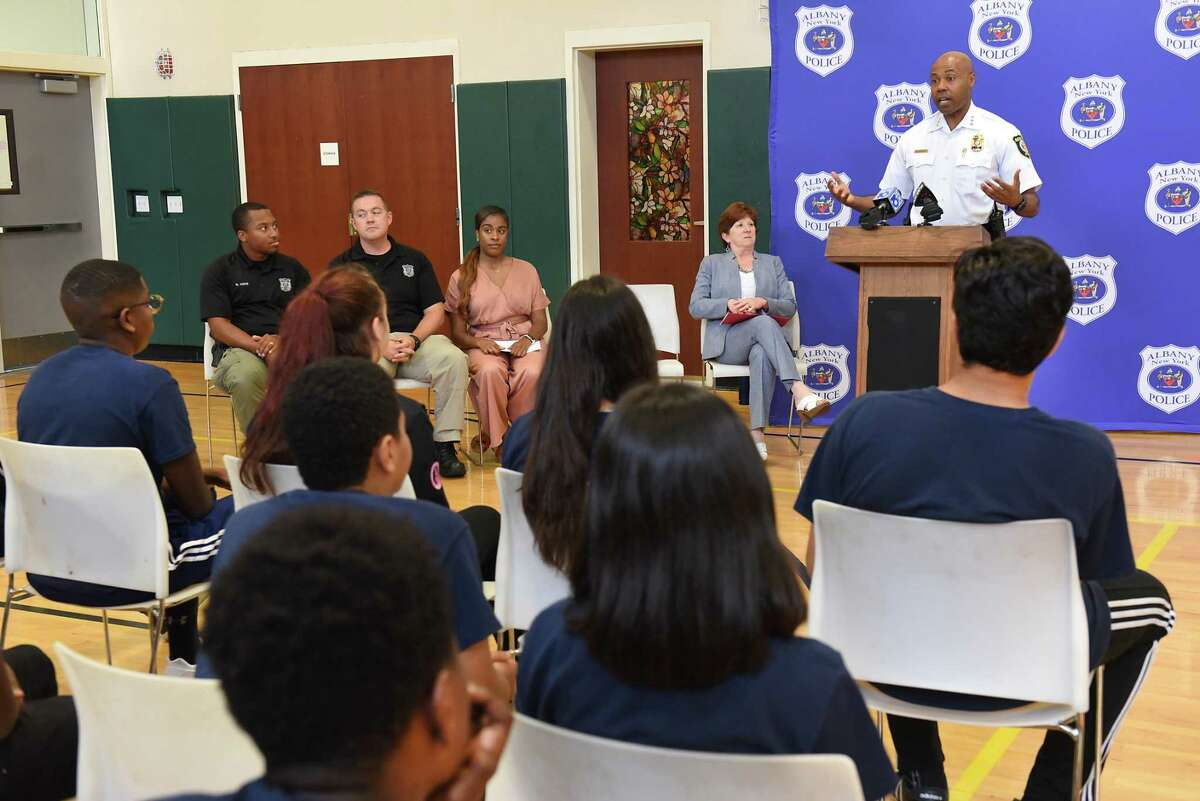 Albany Police Chief Eric Hawkins speaks to the cadets during the Albany Police Department Cadet Graduation at Tony Clement Center for Education on Thursday, Aug. 8, 2019 in Albany, N.Y. The 16 cadets worked with the police department throughout the summer as part of the city's Summer Youth Employment Program. (Lori Van Buren/Times Union)