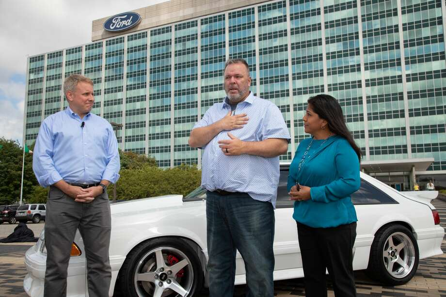 "Last year, the story of San Antonio's Ryan family pulled on the heartstrings across the nation. Wesley Ryan's children miraculously found the beloved Ford Mustang he sold after his wife was diagnosed with cancer and bought it back to surprise him. Ford and Hennessey Performance were equally moved and collaborated on restoring the car, named ""Christine."" The Ryan family reunited with the car again this week, in Detroit. Photo: Ford Motor Company"