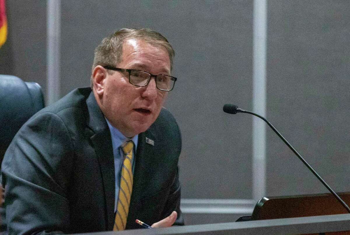 CISD superintendent Curtis Null speaks during a CISD Board of Trustees public budget hearing Tuesday, August 6, 2019 at CISD administration building in Conroe.