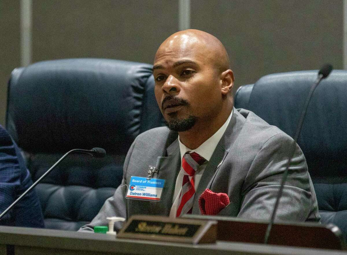 CISD board president Datren Williams listens to public comments during a CISD Board of Trustees public budget hearing Tuesday, August 6, 2019 at CISD administration building in Conroe.