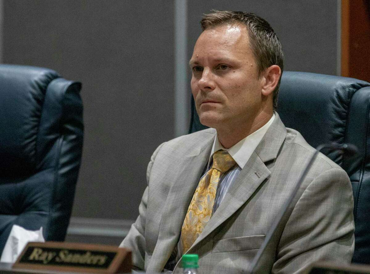 CISD board member Skeeter Hubert listens to public comments during a CISD Board of Trustees public budget hearing Tuesday, August 6, 2019 at CISD administration building in Conroe.
