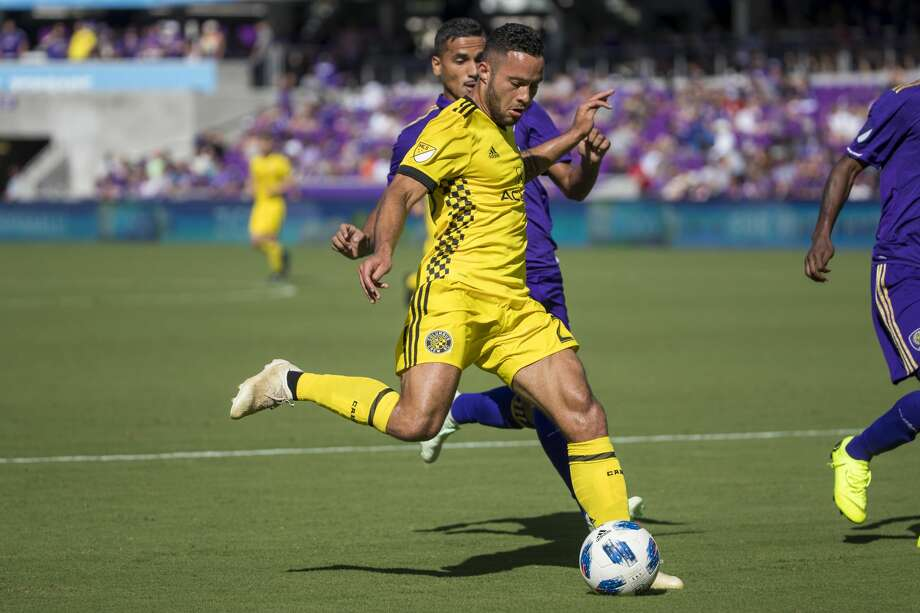 ORLANDO, FL - OCTOBER 21: Columbus Crew midfielder Niko Hansen (28) kicks the ball during the soccer match between the visiting Columbus Crew and the Orlando City Lions on October 21, 2018, at Orlando City Stadium in Orlando, FL. (Photo by Joe Petro/Icon Sportswire via Getty Images) Photo: Icon Sportswire/Icon Sportswire Via Getty Images