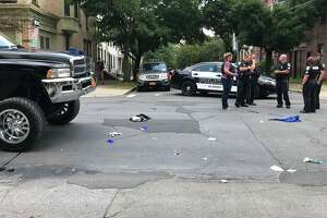 A pedestrian was badly injured Thursday when he was struck by a truck at the intersection of Madison Avenue and Dove Street.