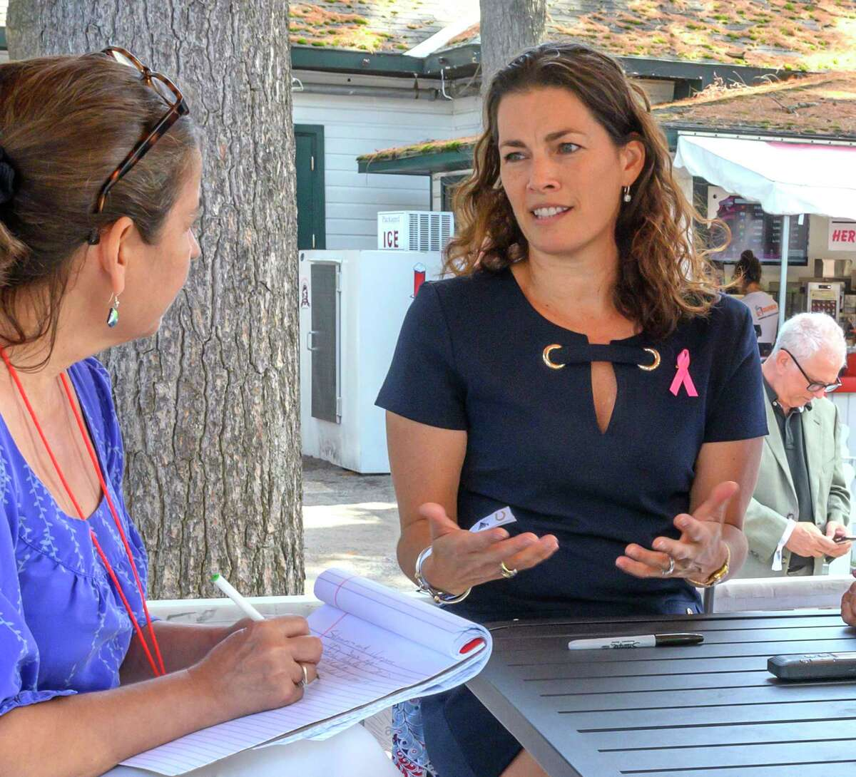 Olympian Nancy Kerrigan, right, speaks with the Times Union during her visit to the Saratoga Race Course on Fabulous Fillys Day Thursday Aug. 8, 2019 in Saratoga Springs, N.Y. Photo by Skip Dickstein