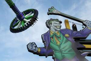 """Six Flags Fiesta Texas previews its latest thrill ride called """"The Joker Carnival of Chaos"""" on Thursday, Aug. 8, 2019."""