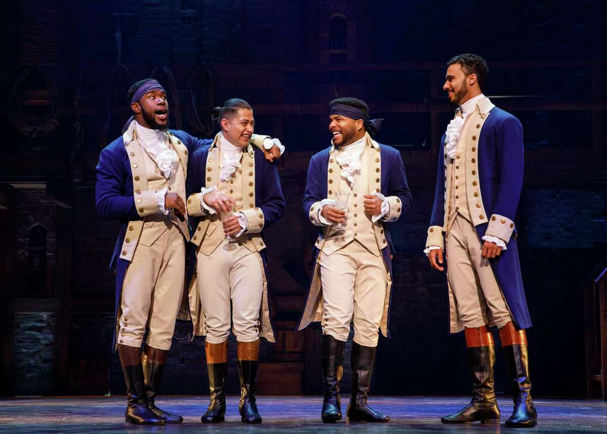 Chaundre Hall Broomfield, Ruben J. Carbajal, Bryson Bruce and Auston Scott in the touring edition of 'Hamilton'