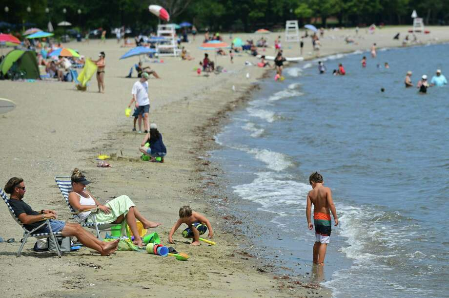 Calf Pasture Beach Friday, August 2, 2019, in Norwalk, Conn. Calf Pasture Beach and Shady Beach reopened Thursday, August 8, 2019 after being closed due to high levels of bacteria. Photo: Erik Trautmann / Hearst Connecticut Media / Norwalk Hour