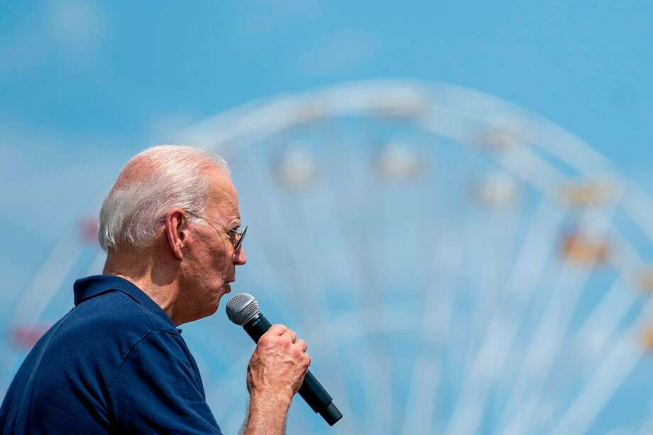 Joe Biden speaks at the Iowa State Fair, an important campaign stop in the early caucus state. Biden's blunder in a speech at the fair in 1987 helped to trorpedo his 1988 presidential bid. Photo: Alex Edelman / AFP / Getty Images