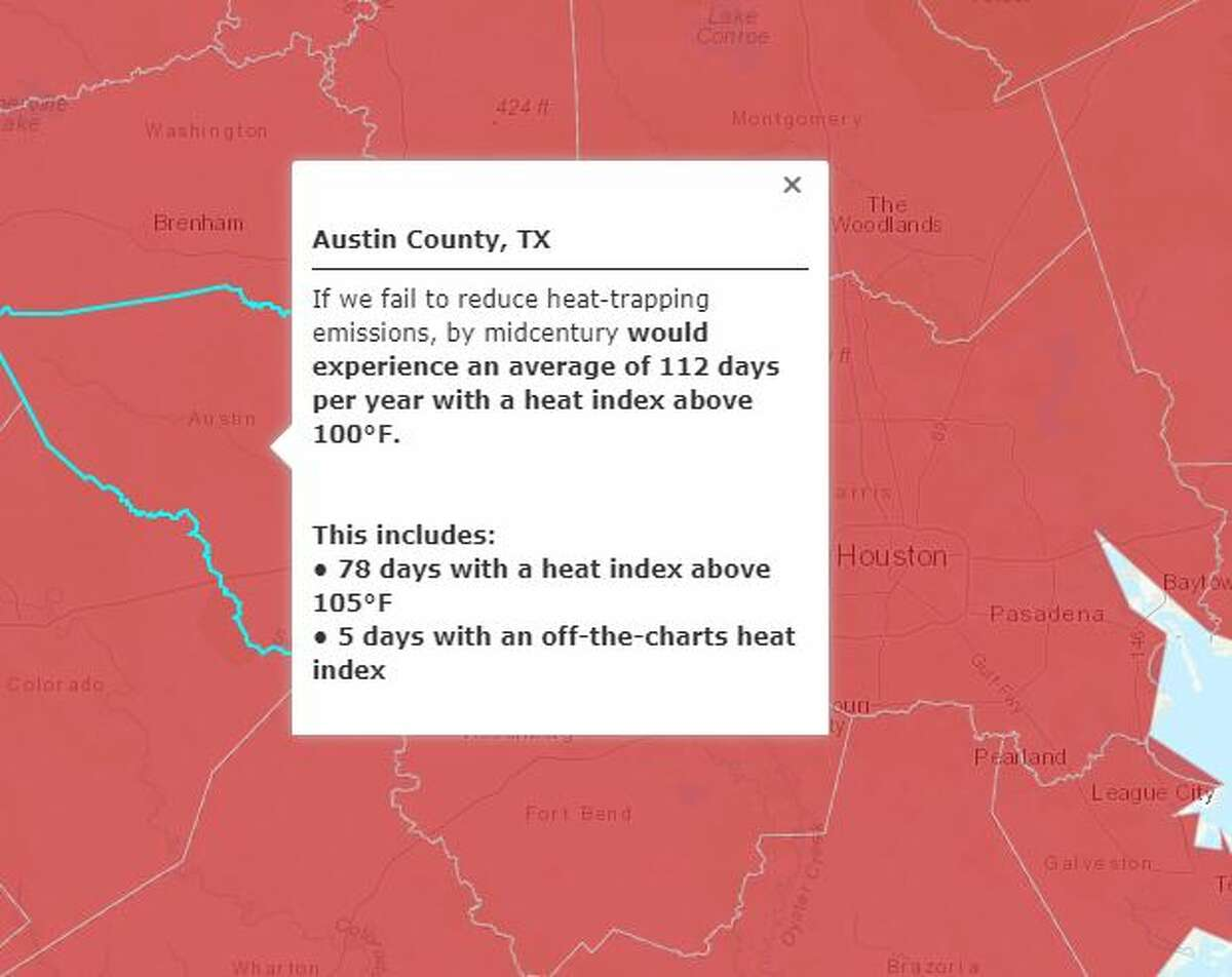 Austin CountyNo action on climate change:Average days with a heat index above 100°F: 112