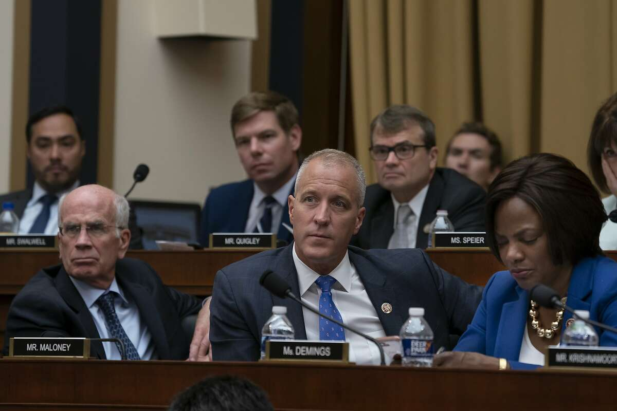 House Intelligence Committee Democrats listen as former special counsel Robert Mueller testifies about his investigation into Russian interference in the 2016 election, on Capitol Hill in Washington, Wednesday, July 24, 2019. Bottom row, from left, are Rep. Peter Welch, D-Vt., Rep. Sean Patrick Maloney, D-N.Y., and Rep. Val Demings, D-Fla. Top row from left are Rep. Joaquin Castro, D-Texas, Rep. Eric Swalwell, D-Calif., and Rep. Mike Quigley, D-Ill. (AP Photo/J. Scott Applewhite)