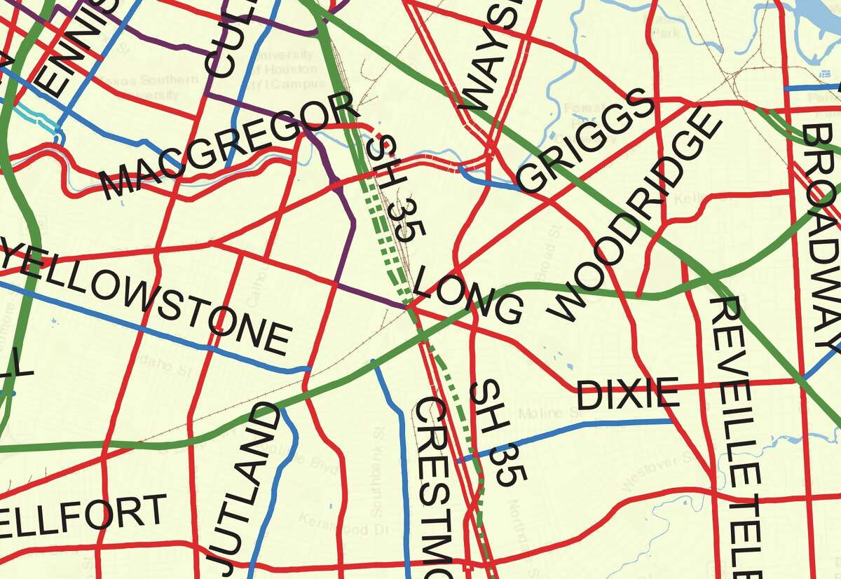 Southeast Houston Solid lines indicate existing roads and freeways while dotted lines indicate proposed roadways.