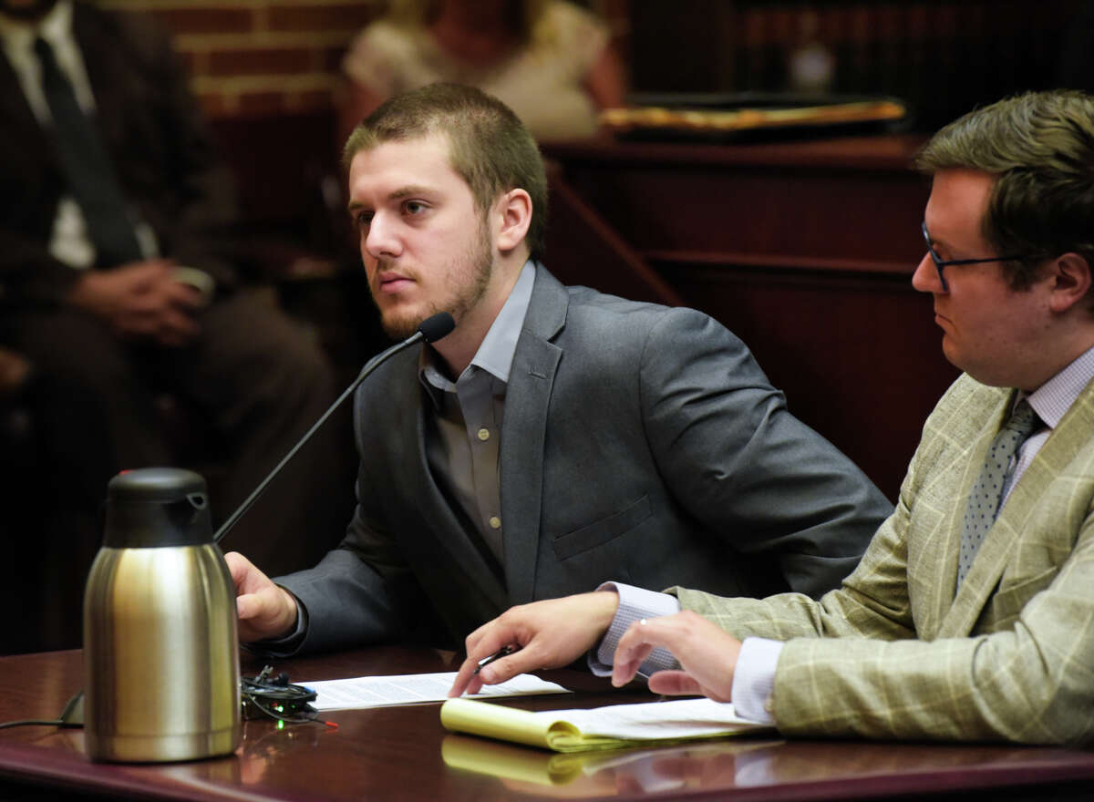 Samuel Heroux at his sentencing on the charge of criminally negligent homicide in connection with the underage drinking death of Liam McGlinchey at Saratoga County Court on Thursday, Aug. 8, 2019, in Ballston Spa, N.Y. (Paul Buckowski/Times Union)