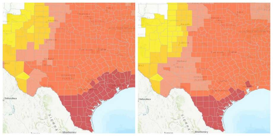 PHOTOS: Climate change across Houston-area countiesNew climate change data shows just how dangerously hot Texas and the Houston area could get in the next few decades. >>>Click through the photos to see how hot Houston-area counties will get if no action on climate change is taken versus if rapid action on climate change is taken... Photo: Courtesy Union For Concerned Scientists