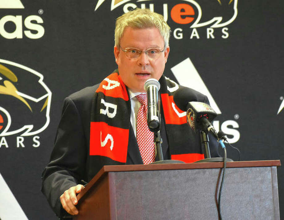 Tim Hall was introduced as the eighth athletic director in the history of SIUE during a press conference on Thursday in Edwardsville. Photo: Matt Kamp|The Intelligencer