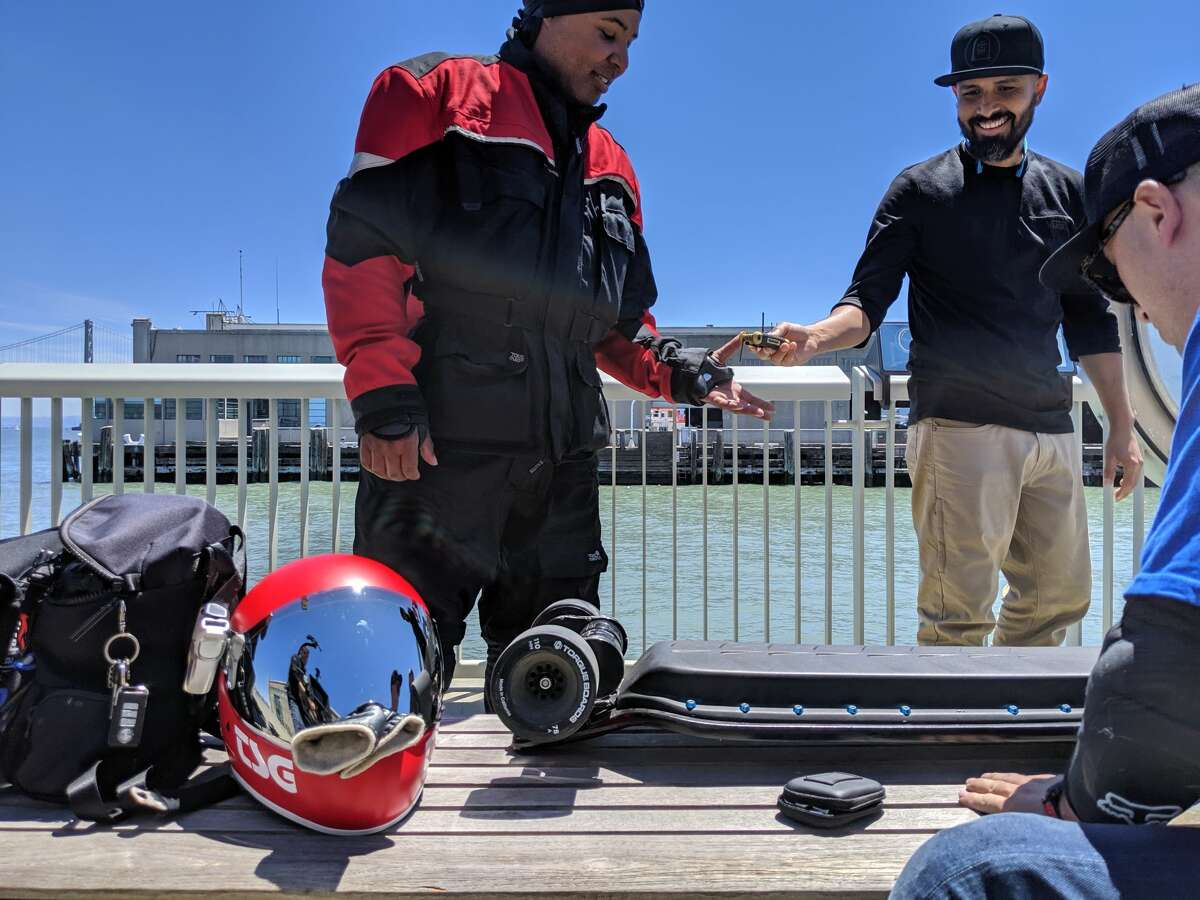 Electric skateboards in particular often require repair, especially DIY models. A group tunes up their vehicles on August 3, 2019 in San Francisco.