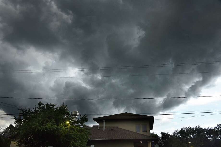 Storm clouds move in swiftly from the northwest over a restaurant on Thursday, Aug. 8, 2019 in Guilderland, N.Y. (Lori Van Buren/Times Union) Photo: Lori Van Buren, Albany Times Union