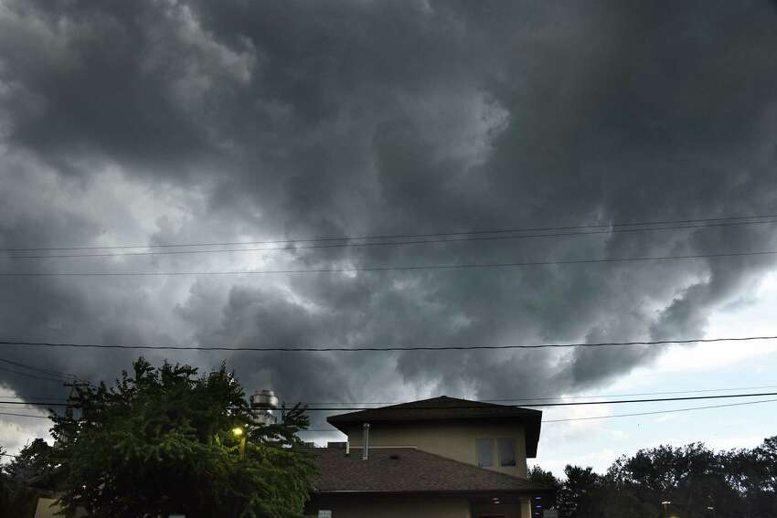 Storm clouds move in swiftly from the northwest over a restaurant on Thursday, Aug. 8, 2019 in Guilderland, N.Y. (Lori Van Buren/Times Union)