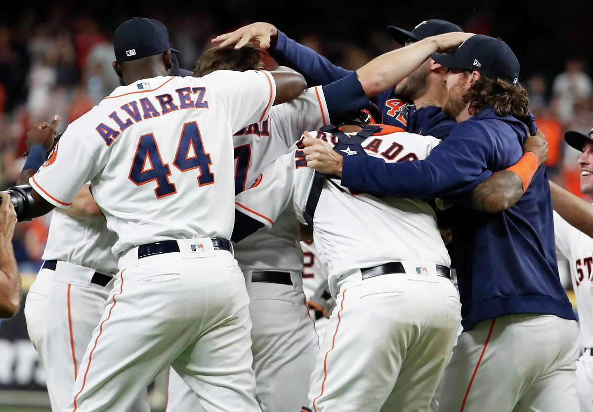 The Astros have had 75 victory celebrations this season, a franchise best after 115 games, including this one after last Saturday's four-pitcher no-hitter against the Mariners at Minute Maid Park.