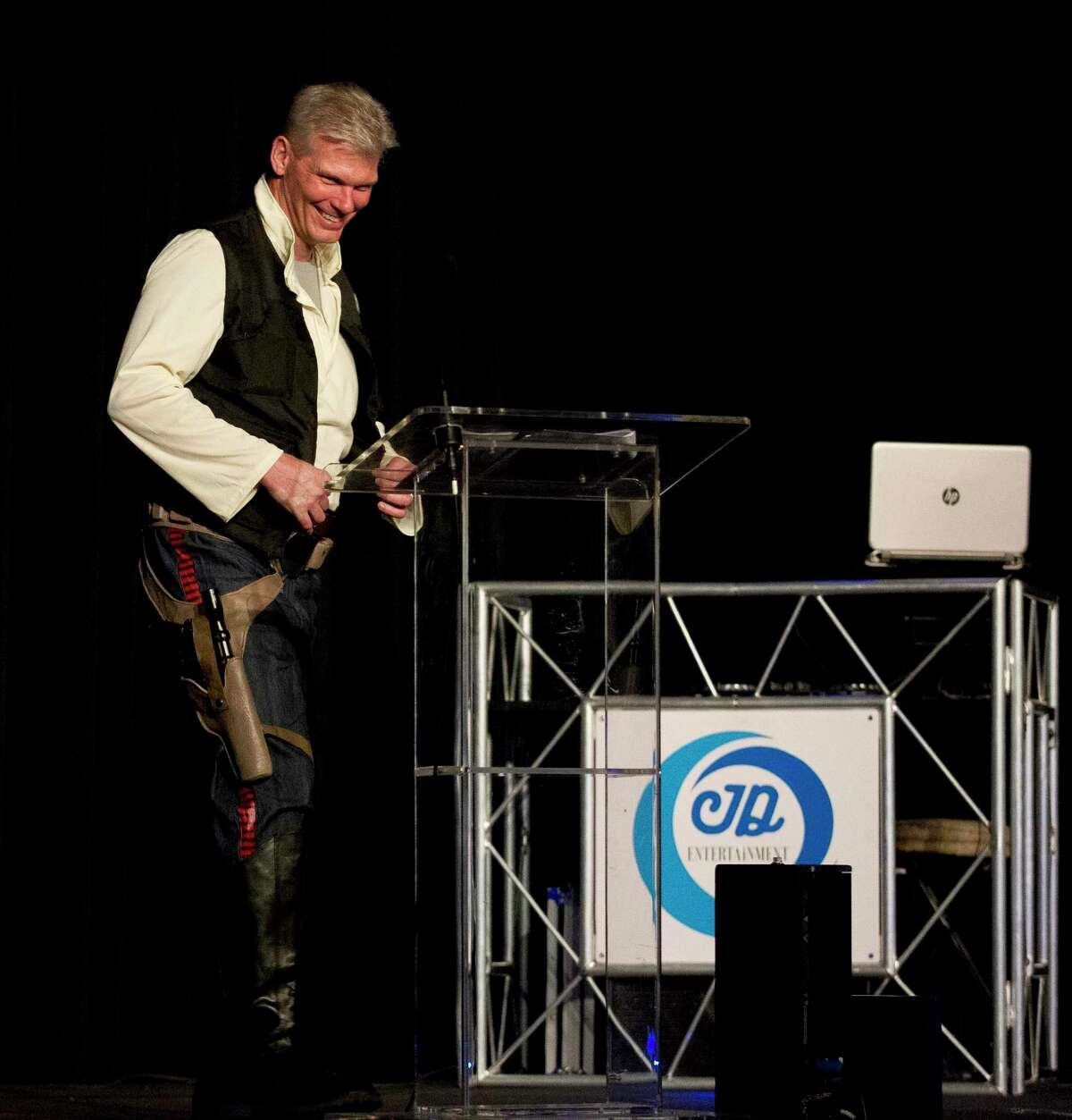 The Woodlands Area Chamber of Commerce is hosting their 41st annual Chairman's Ball beginning at 6 p.m. Aug. 17. Here, J.J. Hollie, president of The Woodlands Area Chamber of Commerce, takes the stage dressed as Han Solo during the annual The Woodlands Area Chamber of Commerce Chairman's Ball at The Woodlands Marriott Hotel & Convention Center on Saturday, Aug. 18, 2018, in The Woodlands.
