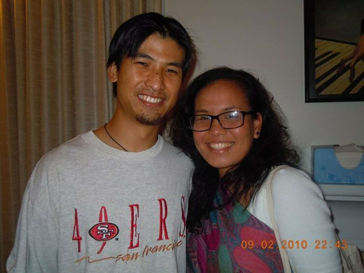 Brandon Lee is pictured with friend Faye Lacanilao at a farewell party in 2010. Lee, an indigenous rights activist and volunteer in the Philippines, was shot, reportedly by government forces, and is in critical condition.