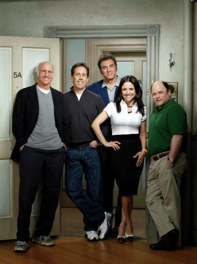 """Larry David, Jerry Seinfeld, Michael Richards, Julia Louis-Dreyfus, and Jason Alexander on the """"Seinfeld"""" set. Thirty years later, """"Seinfeld"""" is still popular and considered the foundation for shows airing now. Photo: Doug Hyun /Doug Hyun : HBO / handout"""