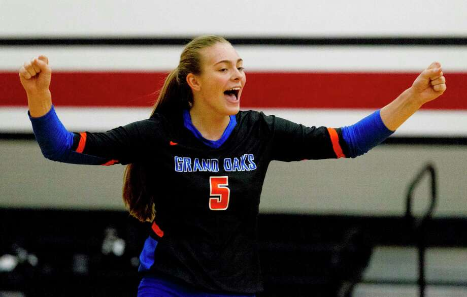 Grand Oaks middle blocker Kamie Lohnes (5) reacts after a point in the first set of a match during the Huffman Varsity Volleyball Tournament at Huffman High School, Thursday, Aug. 8, 2019, in Huffman. Photo: Jason Fochtman, Houston Chronicle / Staff Photographer / Houston Chronicle
