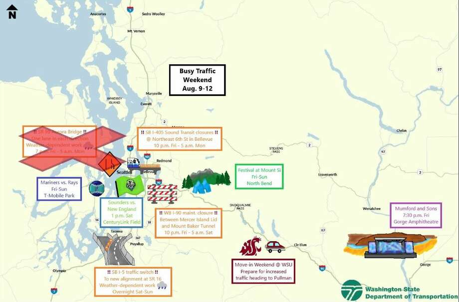 Road closures, events and weather could cause delays for travelers this weekend. Photo: Courtesy WSDOT