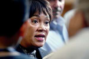 New Haven Mayor Toni Harp speaks with the media in July.
