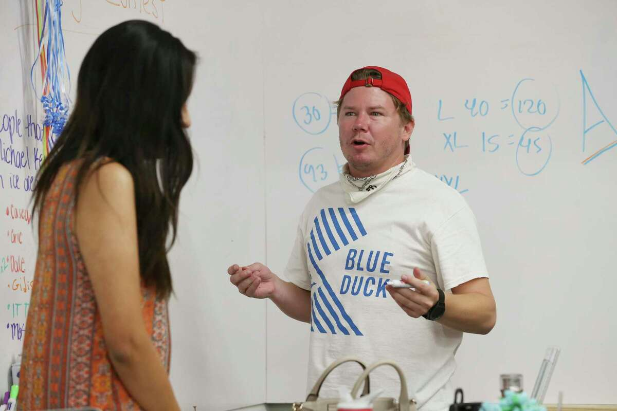 Blue Duck CEO Eric Bell brainstorms ideas with Magda Gonzalez-Jimenez, Monday, May 6, 2019. Blue Duck is a local company that offers scooter rentals in San Antonio.