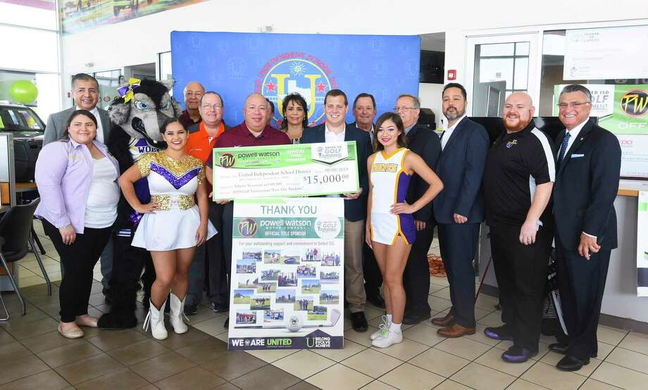 Powell Watson Motors Auto Group presented a donation of $15,000 to UISD on Thursday at a press conference announcing details for the 5th Annual United ISD Golf Tournament which will be held Oct. 12 at the Max A. Mandel Municipal Golf Course. Photo: Danny Zaragoza / Laredo Morning Times / Laredo Morning Times