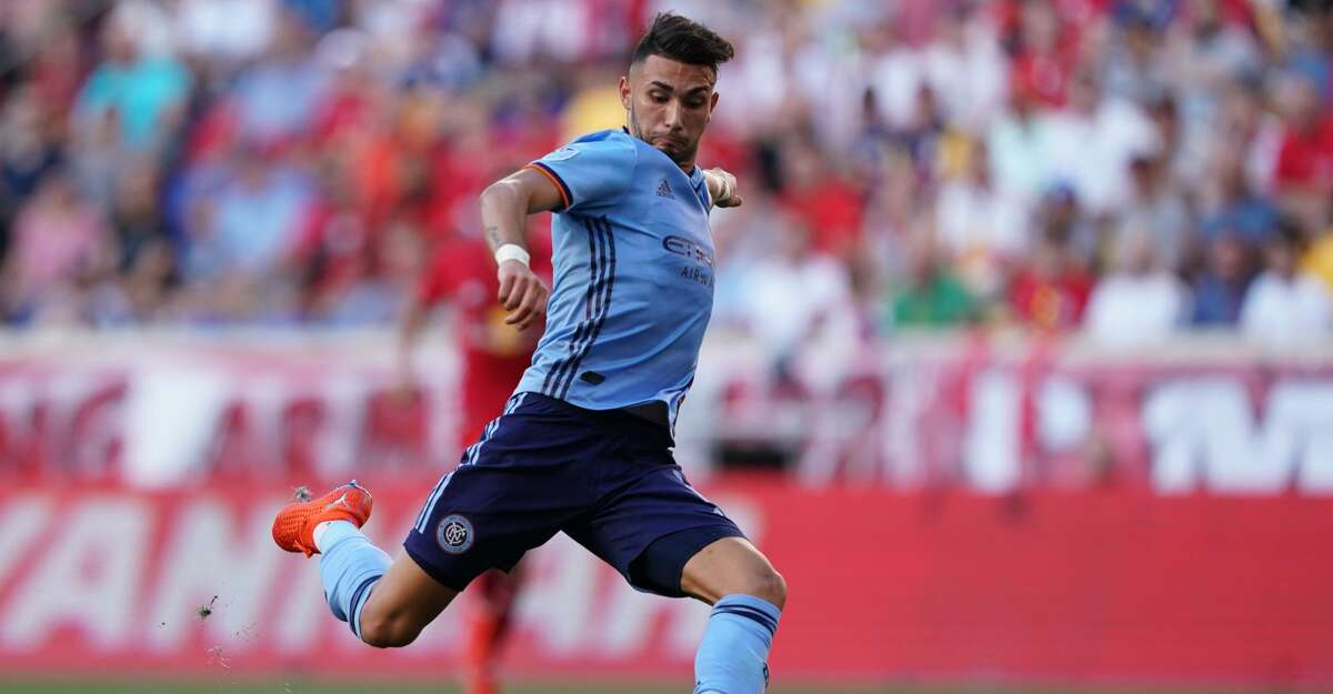 HARRISON, NJ - JULY 14: Valentin Castellanos of New York City FC shoots the ball during the MLS match between New York City FC and New York Red Bulls at Red Bull Arena on July 14, 2019 in Harrison, New Jersey. (Photo by Daniela Porcelli/Getty Images)
