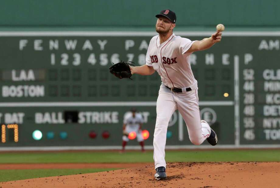 Boston Red Sox starting pitcher Chris Sale delivers to a Los Angeles Angels batter during the first inning of a baseball game at Fenway Park, Thursday, Aug. 8, 2019, in Boston. (AP Photo/Elise Amendola) Photo: Elise Amendola / Copyright 2019 The Associated Press. All rights reserved