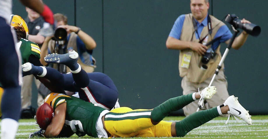 Green Bay Packers Equanimeous St. Brown (19) falls on a muffed punt reception by Houston Texans punt returner Keke Coutee that resulted in a Packers touchdown during an NFL preseason football game against the Green Bay Packers at Lambeau Field in Thursday, Aug. 8, 2019, in Green Bay, Wis. Photo: Brett Coomer/Staff Photographer / © 2019 Houston Chronicle