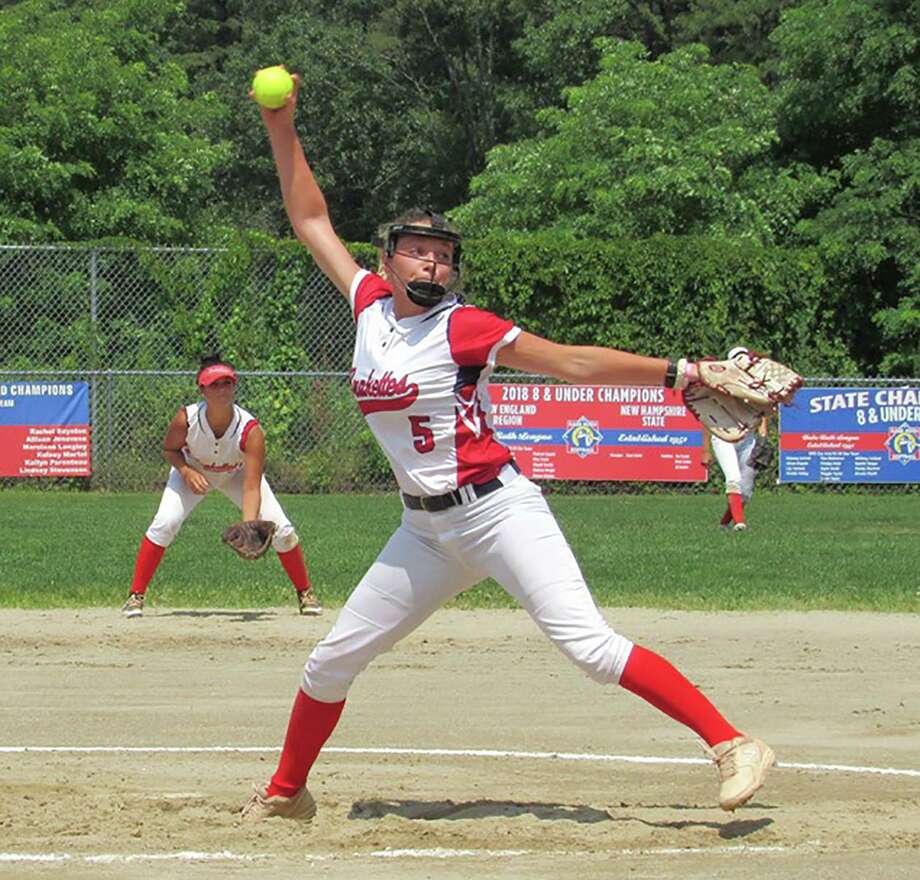 New Canaan's Gillian Kane fires in a pitch for the Junior Brakettes in Stratford this summer. Photo: Contributed / Hearst Connecticut Media