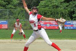 New Canaan's Gillian Kane fires in a pitch for the Junior Brakettes in Stratford this summer.