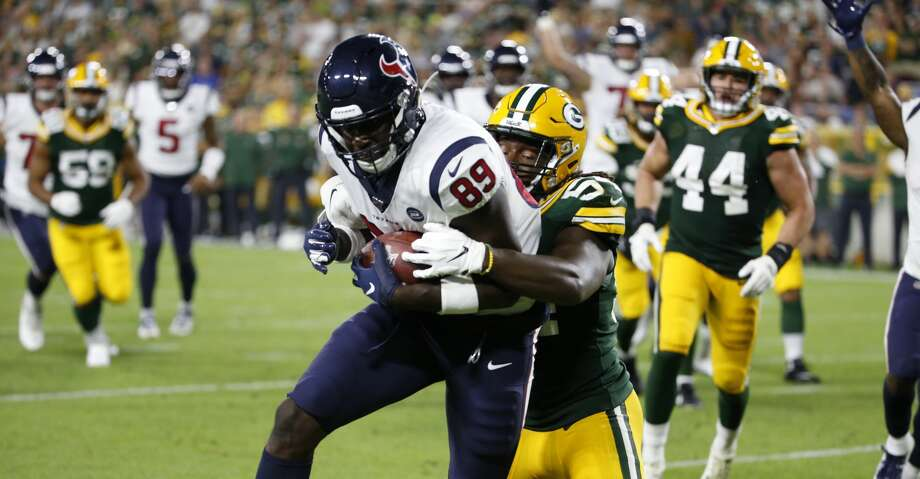 Houston Texans tight end Jerell Adams (89) hauls in a touchdown reception during the second half of a preseason NFL football game against the Green Bay Packers from the bench at Lambeau Field in Thursday, Aug. 8, 2019, in Green Bay, Wis. Photo: Brett Coomer/Staff Photographer